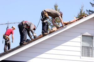 roofing service three men on roof